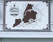Modern New York Pop-Culture Map - 24x36 - White and Brown