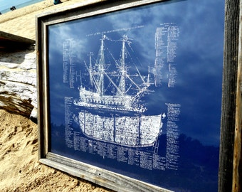 Old Ship Diagram- screen printed Nautical POSTER - large 22x28