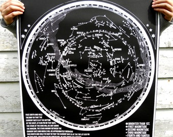 Constellations of the Northern Hemisphere star chart - hand pulled large screen print 22x28 inch Astronomy Poster