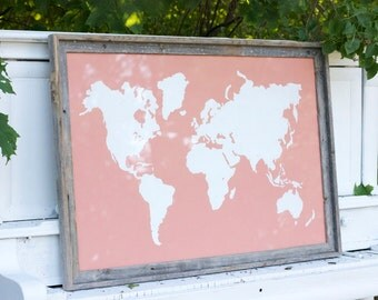 Giant Modern World Map Print Poster - 24x36 - Coral and White