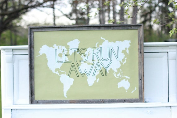 LET'S RUN AWAY Giant Modern World Map Print Poster - 24x36 - Sage and White