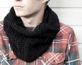 Men's Cowl Scarf - Made To Order Black Cowl Scarf - Men's Black Scarf