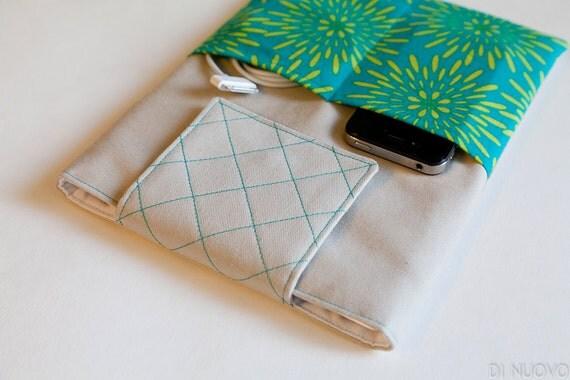 Teal and Lime iPad 2 Case - iPad 2 Sleeve