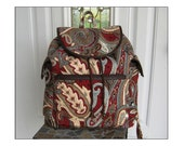 Red Paisley Backpack - Made From Home Dec Fabric - Ready to Ship