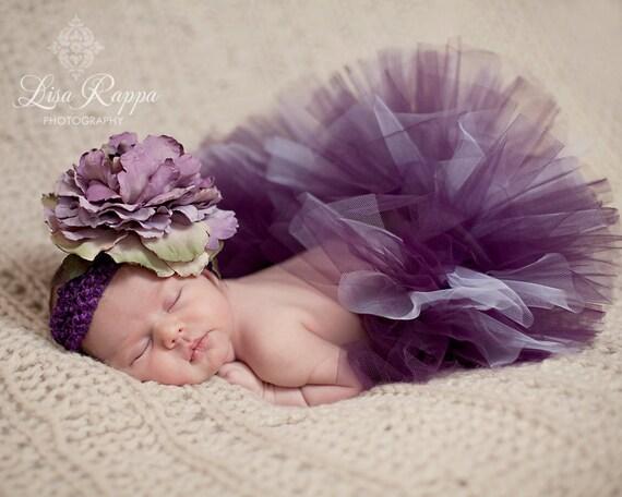 Newborn Baby Photo Prop Plum Tutu Set