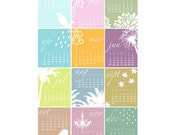 SALE - 2012 Wall Calendar - 13x19 - Modern, Whimsical, Colorful, Happy