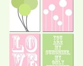 Nursery Quad - Set of Four Coordinating 8x10 Prints - You Are My Sunshine, Balloons, LOVE Stencil, Lollipops - Light Pink and Apple Green