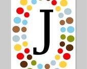 SALE - 8 x 10 Polka Dot Monogram Print - Initial J - Modern Nursery - Red, Chocolate Brown, Yellow, Blue, Green,Burnt Orange