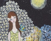 Moonlight and blue bird : Giclee Fine Art Print 8x10