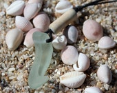 Sea glass neacklace -  wave shape - sea foam green and 1800's clay pipe