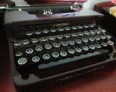 Beautiful Antique 1930 Typewriter Art Deco Dark Brown Burgundy Maroon Sterling L.C. Smith Corona Typewriter with case