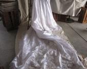 Vintage Wedding Dress Spring Bride Spring Wedding White Satin Lace Beads Victorian Style Look