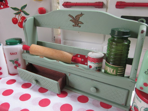 Vintage Sage Green Wall Kitchen Cupboard Spice Rack Bedroom Cupboard Jewelry Sewing Office Box