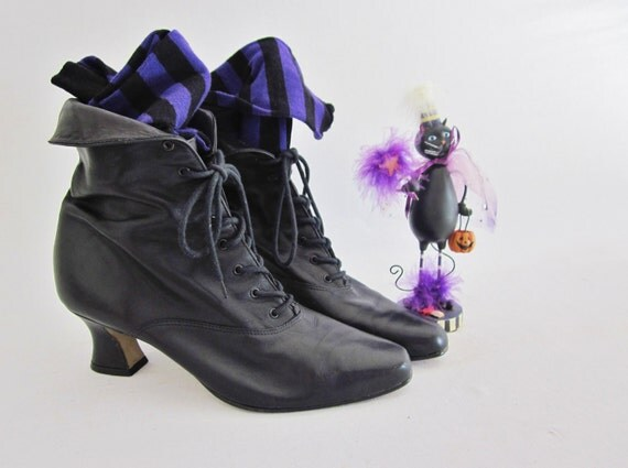 RESERVE // Vintage Granny Boots Halloween Witches Shoes with Purple stripes socks Goth Costume Decor