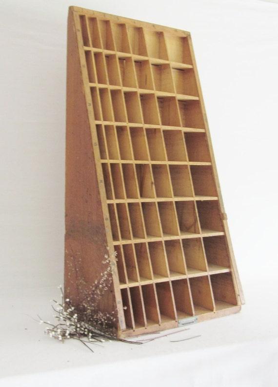 Hamilton Letter Press Cabinet Printing Block Tray Wood Storage Unit With Blocks Primitive Decor Furniture Display Case Cabinet