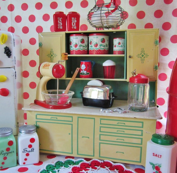 SALE Vintage Tin Toy Kitchen Cupboard Green Play Child Wolverine Kitchen Toy