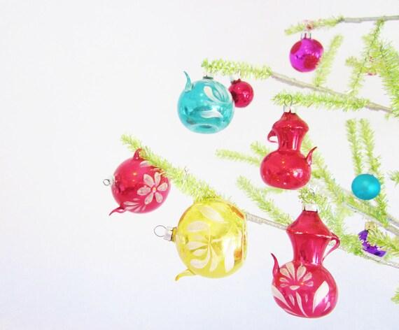 Vintage Christmas Ornaments Teapots Mercury Glass