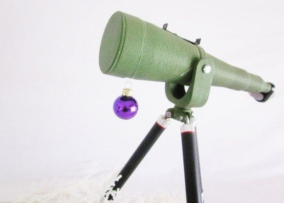 Vintage Telescope Spyglass Brass Industrial Chic Mid Century Coated Army Green Child Educational Toy Home School