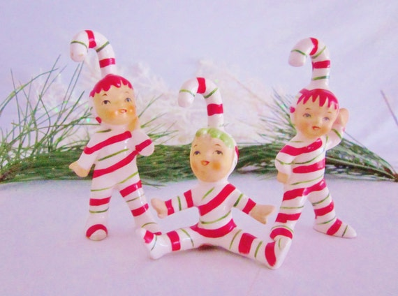 Vintage Christmas Figurines Lefton Pixie Candy Cane Striped