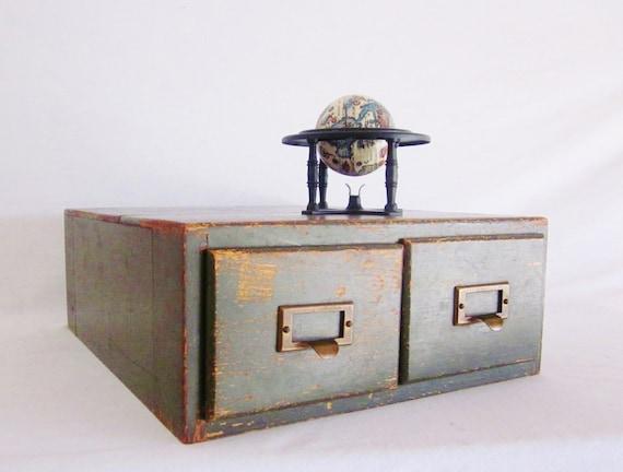 Card catalog wood army green rustic by littleredpolkadots