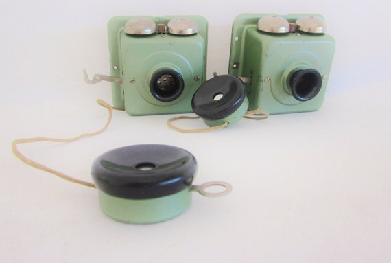 Vintage Telephone Intercom System Bells Mint Green Bakelite Industrial Chic Geekery Techie Mid Century Office Decor