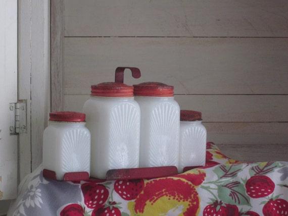 Vintage McKee Milk Glass Spice Jars Rack Red Kitchen Salt Pepper Shakers Sunray Tipp Shakers