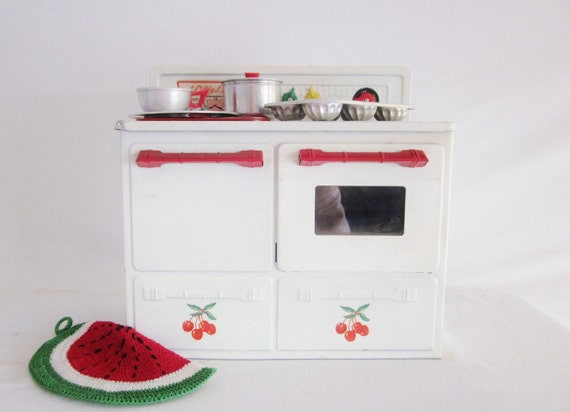Vintage Toy Tin Play Stove Cherry Kitchen Mid Century Toy Tin Dishes