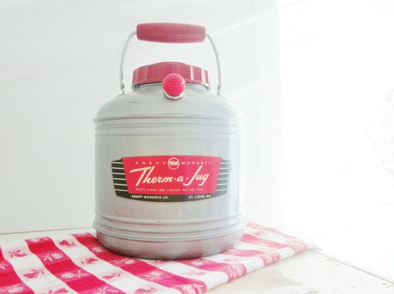 Vintage Thermos Mid Century Picnic Cooler Retro Red Kitchen Therma Jug