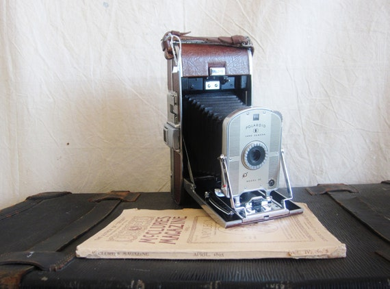Vintage Polaroid Camera Model 95 Folding Camera Case Extras Mid Century Electronics