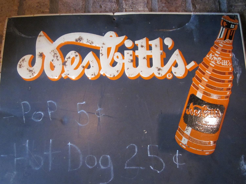 Vintage Metal Advertising Sign Nesbitts Orange Soda Chalkboard