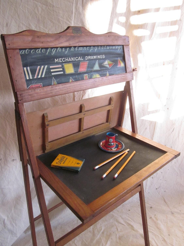 Vintage school desk child educational learning board home for School desks for home