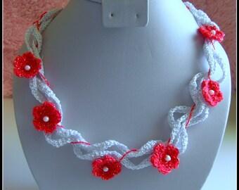 Necklace Crochet  Flower White Red Pearls Elegant
