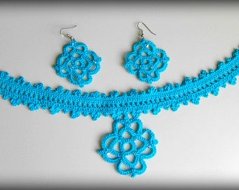 Turquoise Blue Crochet Necklace Pendant Earrings Bohemian