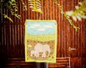 Meandering Mama and Baby Elephant- Cotton Applique Baby Quilt
