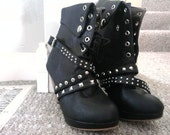KPop Style Punk Ankle Strap Studded High-Heeled Boots