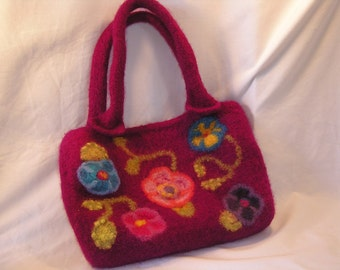 Flower Garden felted wool Fiber Art bag, fuchsia with floral and vine design hand knit