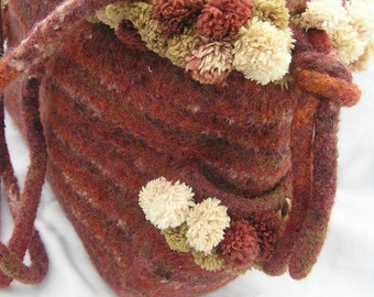 Felted Wool Pom Pom Fiber Art bag in shades of rust and beige hand knit