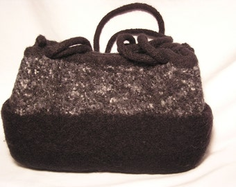 Black, White and Gray tweed, solid black bottom felted wool fiber art purseuui