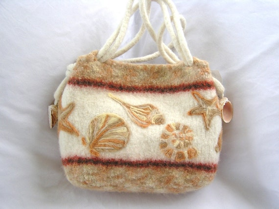 Sea Shell bag in rusts, cream and brown, felted wool purse