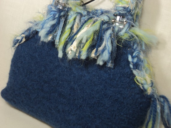 Clearance Sale- 50% off-Bright Blue hand knit felted wool petite bag with novelty yarn handle and fringe