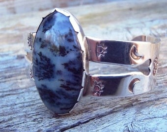 Vintage Handcrafted Agate and Sterling Silver Cuff Bracelet Large Pale Gray With Black Plumes Stone Stamped Hearts Crescent Moons Sunrises