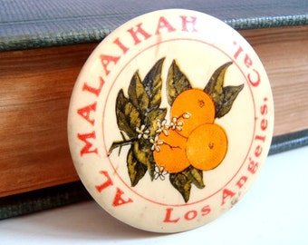 Vintage Al Malaikah Los Angeles Shriners Temple Pinback Button with Iconic Southern California Oranges