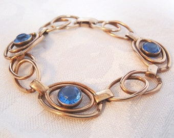 Vintage Sterling Silver Bracelet with Pale Blue Stones 1/20 12K GF on Sterling  Art Deco Style Link Bracelet Signed Sturdy