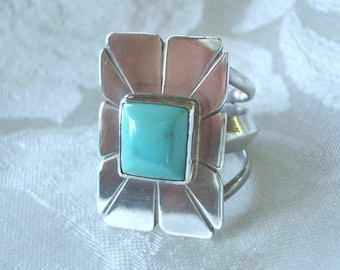 Vintage Turquoise and Sterling Silver Ring Large Handcrafted Jewelry 1970s Size 10-1/4 to Size 10-1/2 Genuine California Turquoise