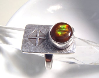 New Handmade Sterling Silver & Mexican Fire Agate Ring Size 7 Hammered and Stamped Handcrafted Arts and Crafts Style Jewelry
