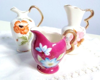 Vintage Mini Pitchers Floral Motifs with Gold Highlights Porcelain Made in Japan 1950s Three Little Pitchers