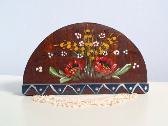 Vintage Hand Painted Wood Napkin Holder Letter Holder with Folk Art Flower Design