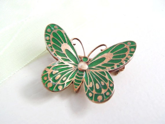 Vintage Champleve Green Enamel Butterfly on Gold Washed Sterling Silver Brooch Pin - Small