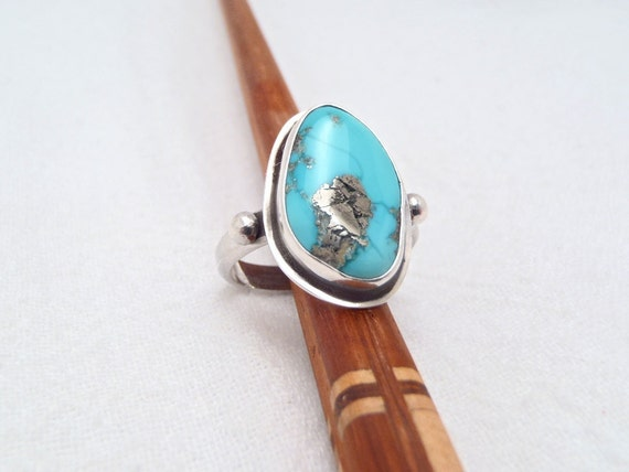 Turquoise with Iron Pyrites and Sterling Silver Ring Size 8-3/4 to 9 New