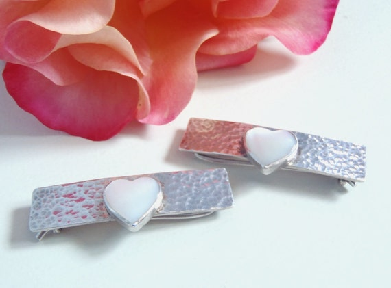 Vintage Heart Barrettes - Two Handcrafted Hammered Sterling Silver Bars and Mother of Pearl Hearts Fashion Accessory Pair of Hair Barrettes